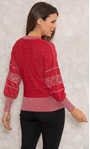 Embellished Balloon Sleeve Knitted Top Red/Silver - Gallery Image 3