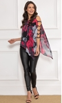 Embellished Chiffon Layered Top Black/Red - Gallery Image 1