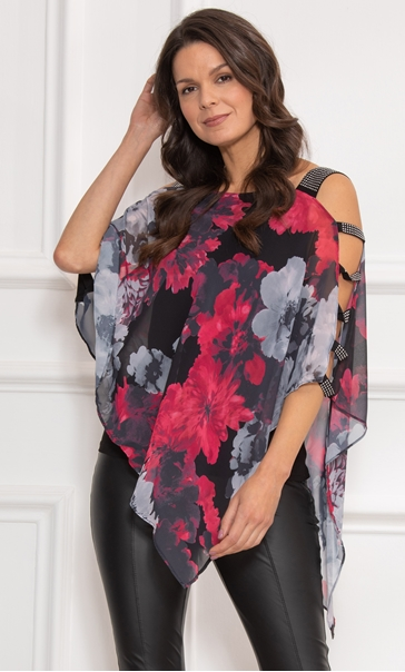 Embellished Chiffon Layered Top Black/Red - Gallery Image 2