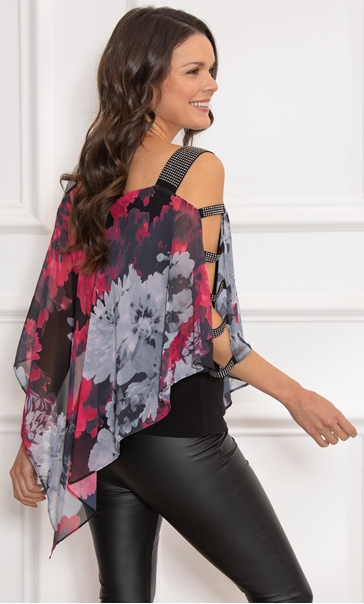 Embellished Chiffon Layered Top Black/Red - Gallery Image 3