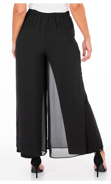 Anna Rose Wide Leg Chiffon Overlayer Trousers Black - Gallery Image 2
