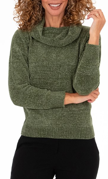 Anna Rose Sparkle Cowl Neck Top - Sage Green