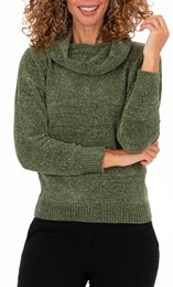 Anna Rose Sparkle Cowl Neck Top