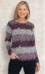 Anna Rose Knitted Jacquard Top Purple/Ivory/Black - Gallery Image 1