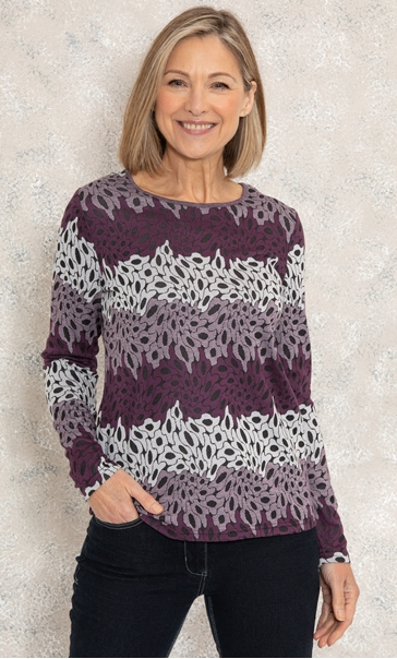 Anna Rose Knitted Jacquard Top Purple/Ivory/Black