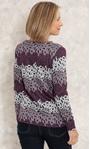 Anna Rose Knitted Jacquard Top Purple/Ivory/Black - Gallery Image 2