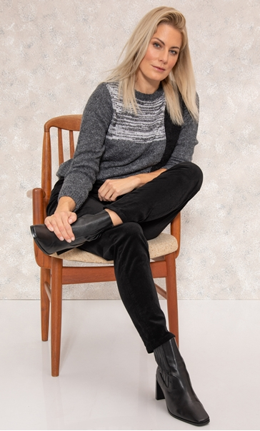 Slim Leg Cord Trousers - Black