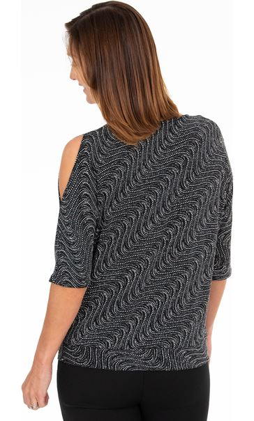 Sparkle Batwing Banded Top Black/Gold - Gallery Image 2