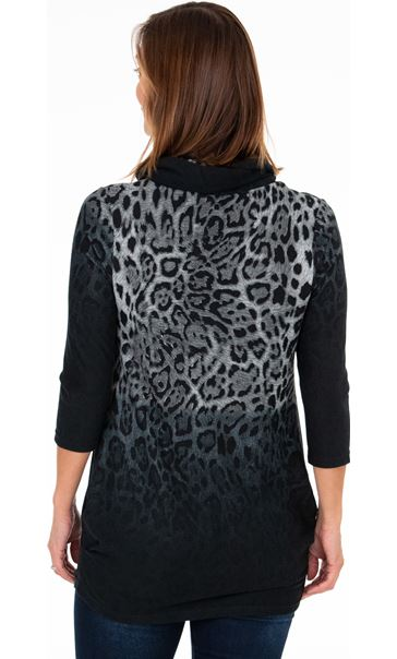 Cowl Neck Animal Print Tunic