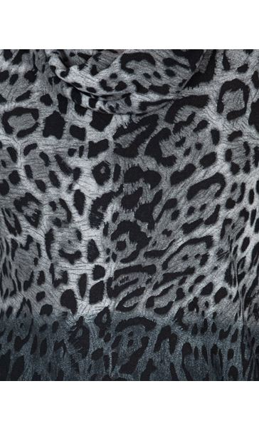 Leopard Print Cowl Neck Knitted Tunic Black/Grey - Gallery Image 3