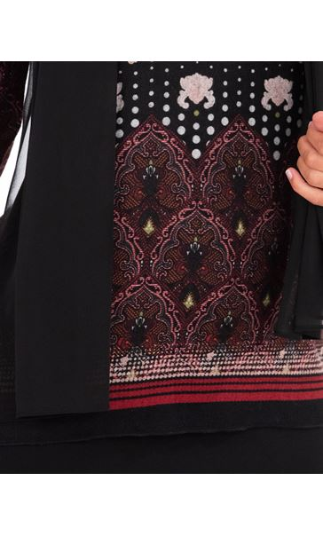 Border Print Top With Scarf Berry/Black - Gallery Image 3