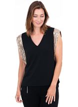 Sparkle Sleeve V Neck Top