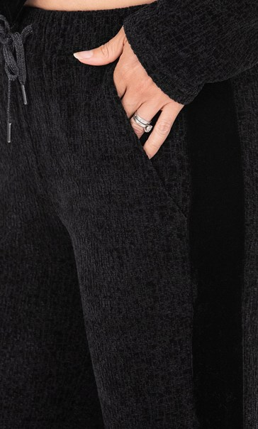 Chenille Lounge Trousers Grey Melange - Gallery Image 3