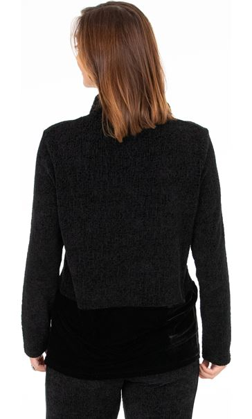 Long Sleeve Textured Funnel Neck Top
