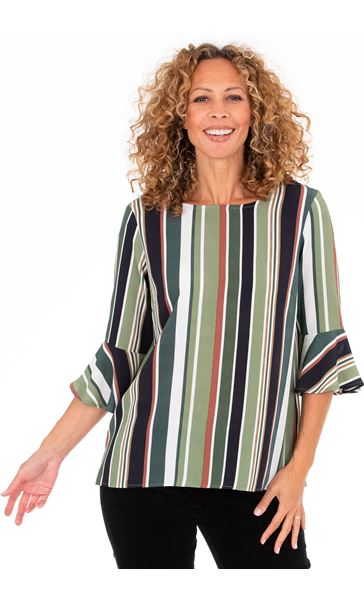 Striped Fluted Cuff Lightweight Top - Green/Orange