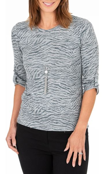 Anna Rose Animal Print Top With Necklace