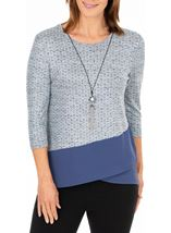 Anna Rose Printed Top With Necklace