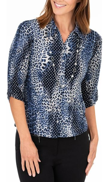 Anna Rose Animal Print Blouse With Necklace Cobalt/Navy