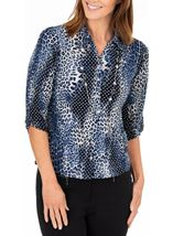 Anna Rose Animal Print Blouse With Necklace