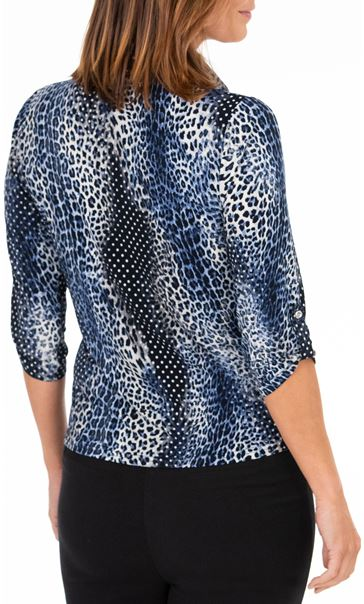 Anna Rose Animal Print Blouse With Necklace Cobalt/Navy - Gallery Image 2