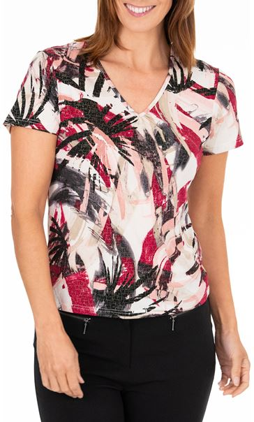 Anna Rose Short Sleeve Printed Top Beetroot