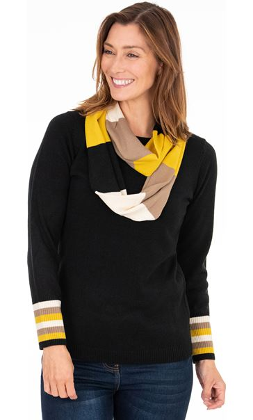 Stripe Cuff Knitted Top With Scarf Black/Ochre