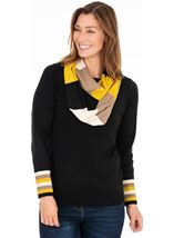 Stripe Cuff Knitted Top With Scarf