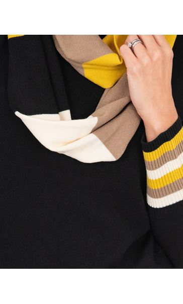 Stripe Cuff Knitted Top With Scarf Black/Ochre - Gallery Image 3