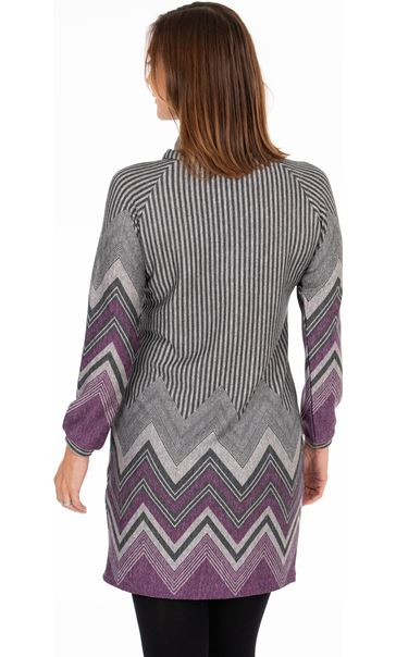 Cowl Neck Printed Tunic - Grey/Purple