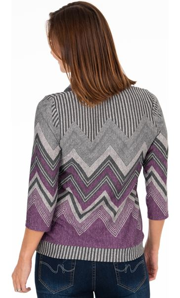 Cowl Neck Printed Top - Grey/Purple