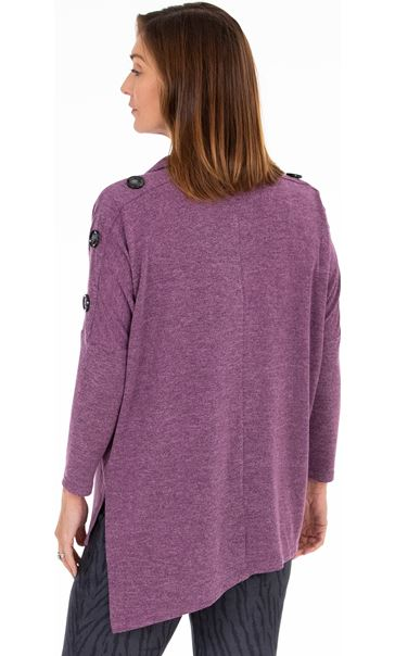 Cowl Neck Button Sleeve Tunic - Purple Marl