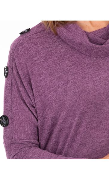 Cowl Neck Oversized Knit Tunic Purple Marl - Gallery Image 3