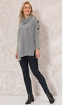 Cowl Neck Oversized Knit Tunic Grey Marl - Gallery Image 1