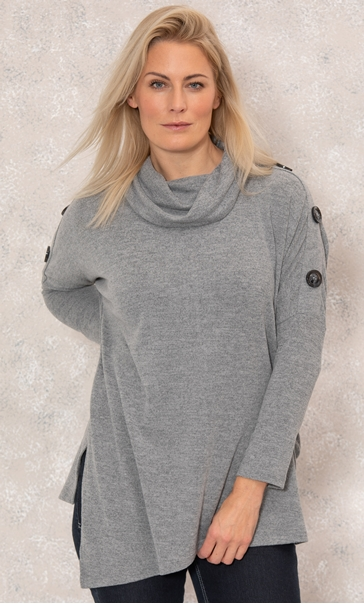 Cowl Neck Batwing Top - Grey Marl