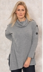 Cowl Neck Oversized Knit Tunic Grey Marl - Gallery Image 2