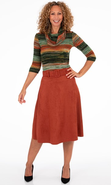 Suedette Midi Skirt With Belt Rust - Gallery Image 2