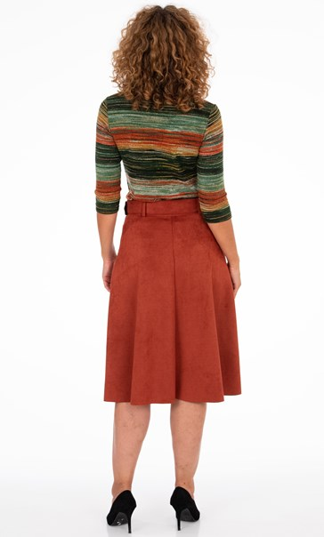 Suedette Midi Skirt With Belt Rust - Gallery Image 3