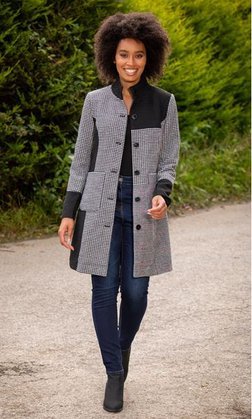 Patch Work Checked Coat Black/White