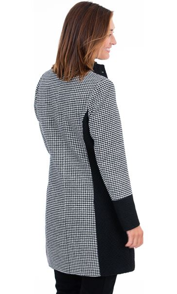 Patch Work Checked Coat Black/White - Gallery Image 3
