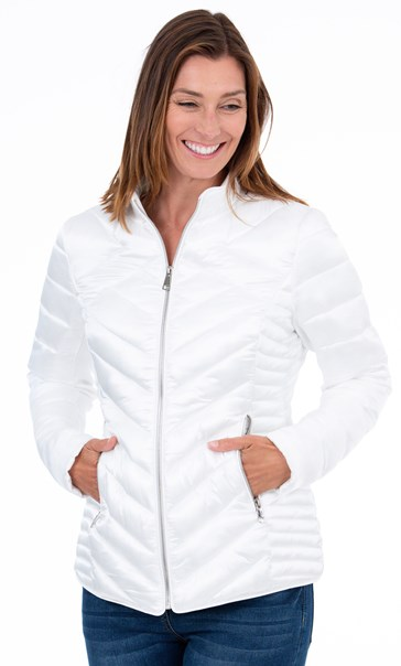 Quilted Short Jacket Ivory - Gallery Image 2