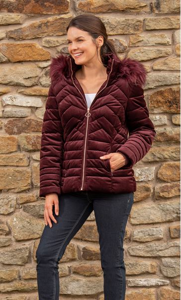 Cord Padded Coat With Hood Ruby