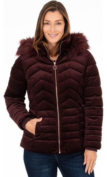 Cord Padded Coat With Hood Ruby - Gallery Image 2
