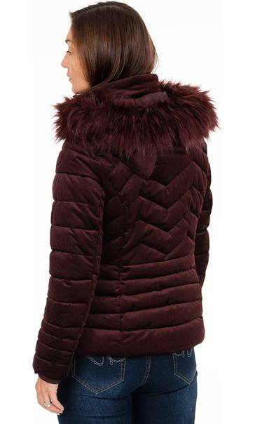 Cord Padded Coat With Hood Ruby - Gallery Image 3