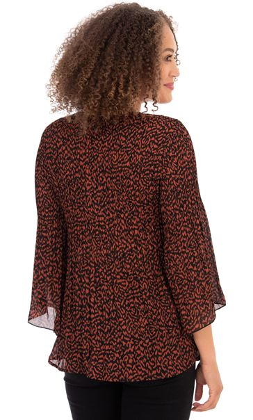 Abstract Print Fit and Flare Pleated Top Rust/Black - Gallery Image 3