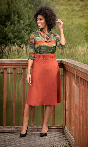 Stripe Print Cowl Neck Knit Top Orange Multi
