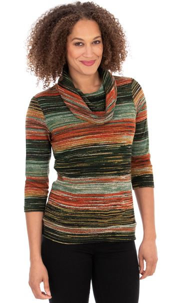Stripe Print Cowl Neck Knit Top Orange Multi - Gallery Image 2