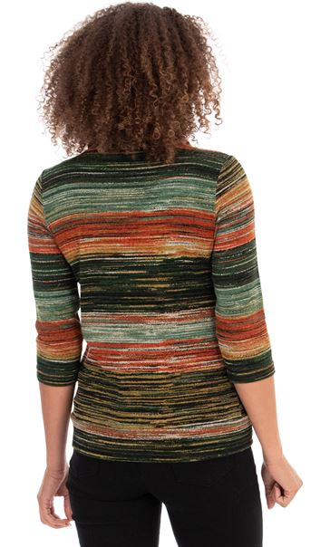 Stripe Print Cowl Neck Knit Top Orange Multi - Gallery Image 3
