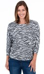Animal Print Sparkle Batwing Top Grey - Gallery Image 1