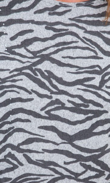 Animal Print Sparkle Batwing Top Grey - Gallery Image 3