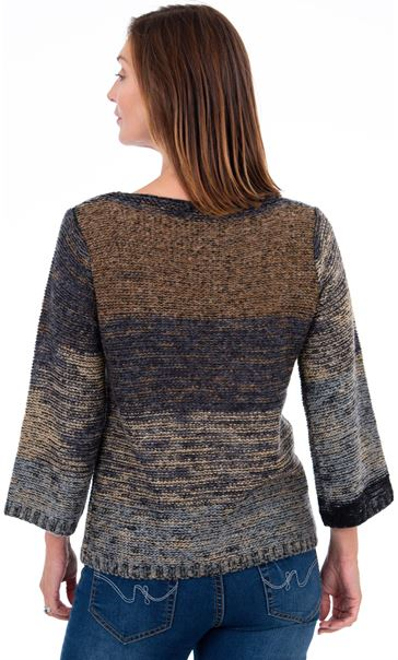 Knitted Three Quarter Length Sleeve Top Brown - Gallery Image 3